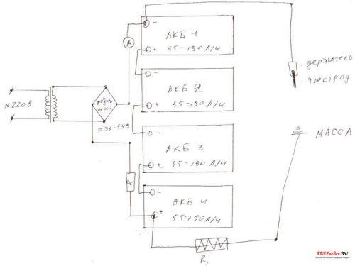 Сварочный аппарат из автомобильных аккумуляторов своими руками - СХЕМА