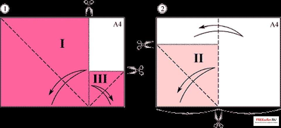 Бумагу для элементов Розы лучше выбрать одинакового цвета с обеих сторон.  Разный цвет сторон бумаги показан для...