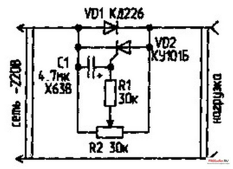 Схема силовых цепей нереверсивной системы. тиристорный регулятор напряжения - асинхронный двигатель.