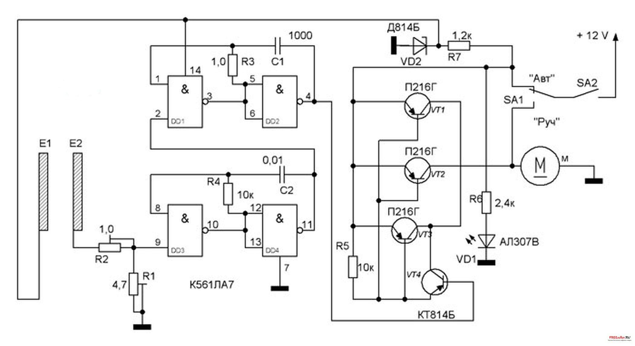 На рисунке показана схема датчика влажности для стеклоочистителей.  При попадании водяных капель на датчики влажности...