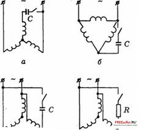 Схема включения однофазного асинхронного двигателя с короткозамкнутым ротором.