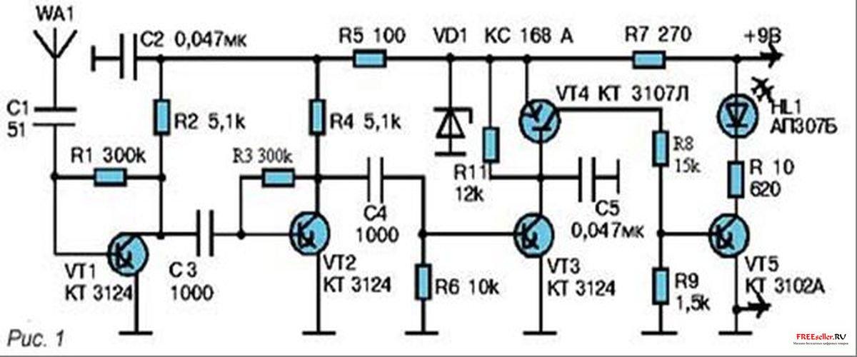 Вариант схемы такого устройства показан на рисунке 1. Разыскиваемый радиосигнал воспринимается антенной WA1 и...