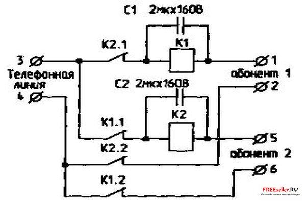 Реле К1 и К2 - из промышленного блокиратора АТСК 50/200 (АТСК 100/2000).  Но эти реле можно изготовить самостоятельно...