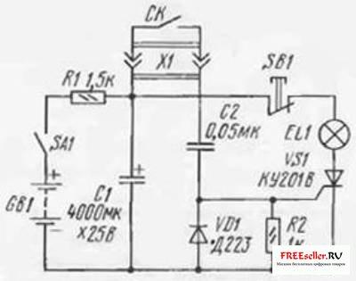 В самодельной фотовспышке может быть использован любой тринистор серии КУ201, любой диод (кроме указанного на схеме)...