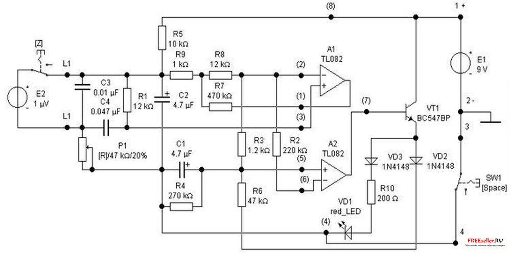 Схема детектора фальшивой