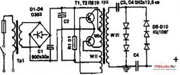 Повышающий трансформатор Тр2