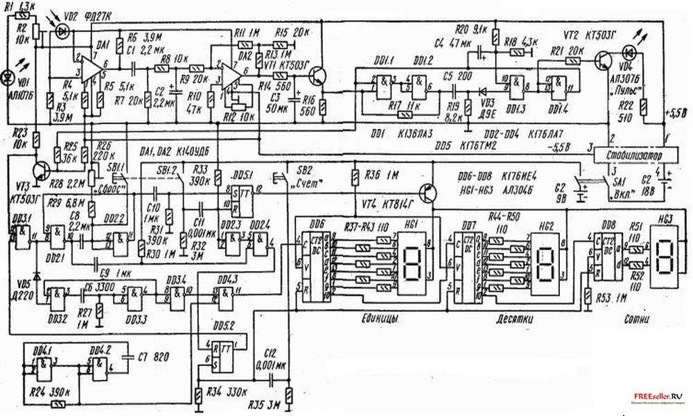 Тема: Схема пульсометра.