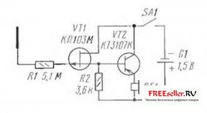 Простая схема искателя скрытой проводки