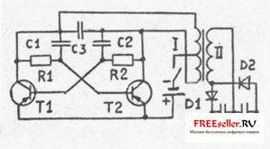 Схема простейшего электрошокера