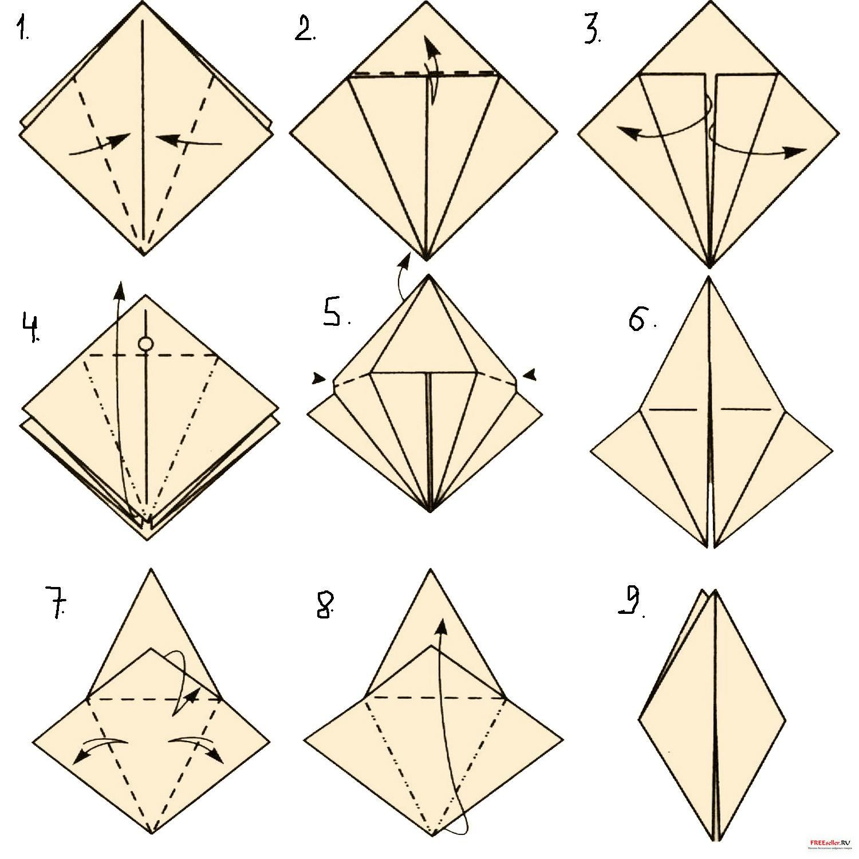 Как сделать птицу оригами