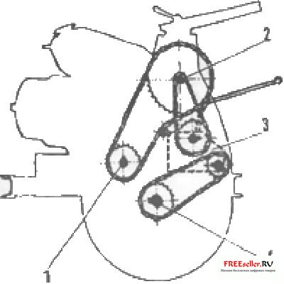 Рис. 2. Компоновка трансмиссии: 1 - Выходной вал двигателя, 2 - промежуточный вал, 3 - дифференциал, 4...