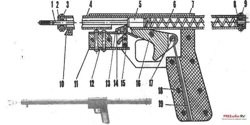 Предлагаемая конструкция самодельного оружия для подводной охоты очень простое, легкое и с хорошей силой боя.
