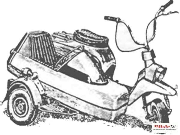 Конструкция данного самодельного мотороллера с люлькой очень надежна в работе.  Двух человек она без труда повезет со...