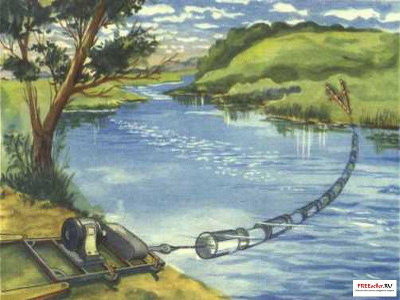 На рисунке снизу показана схема конструкции простой тросовой гирляндной мини-ГЭС с турбинно-тросовым.