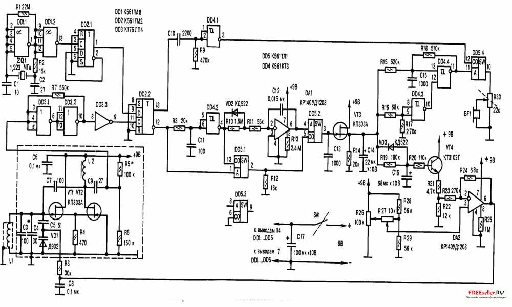 схема металлодетектора.