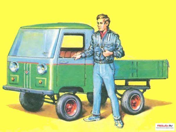 Формула этого самодельного автомобиля проста до предела: старый мотоцикл + старый мотороллер = новый самодельный