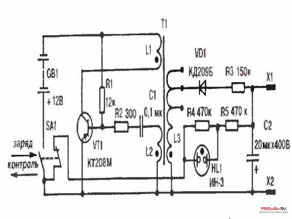 i Рис.1. принципиальная электрическая схема гальванического электрошокера./i.