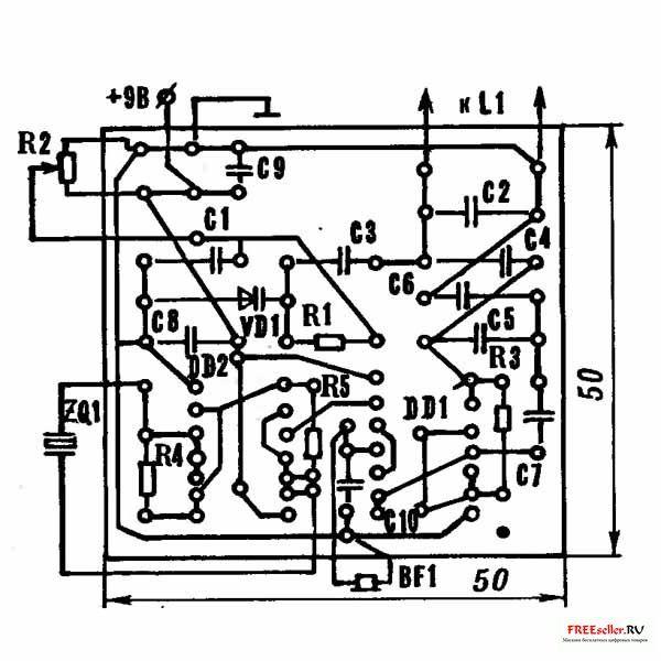 Рис.2. Печатная плата самодельного металлоискателя, с указанием...