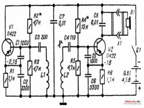Миноискатель на двух транзисторах