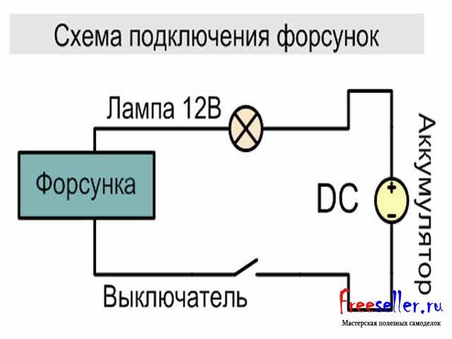 Схема включения форсунки для
