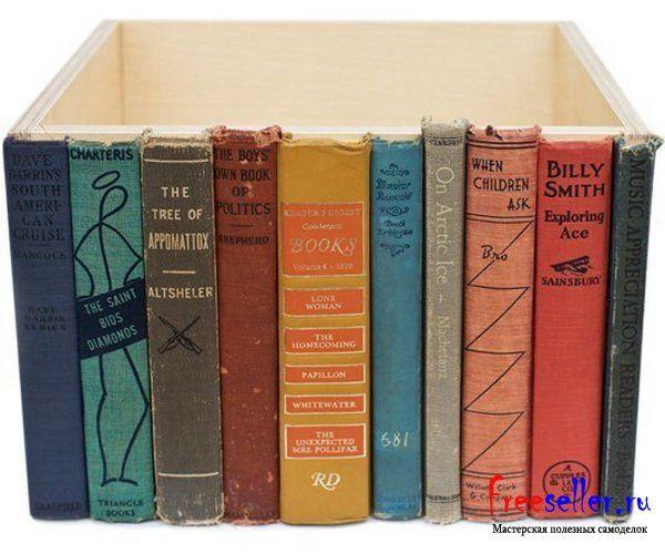 Самодельный ящик для хранения мелочей из старых книг