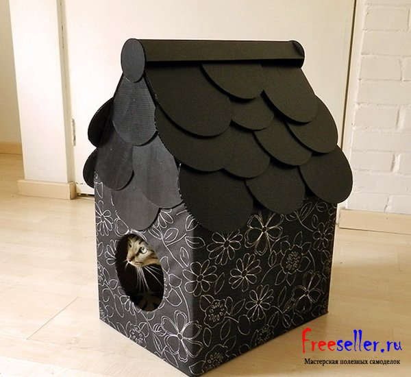 Дома из картона для кошек своими руками