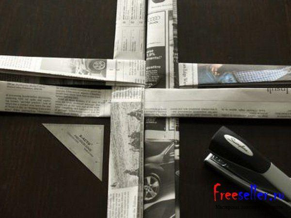 Самодельная корзина из газет
