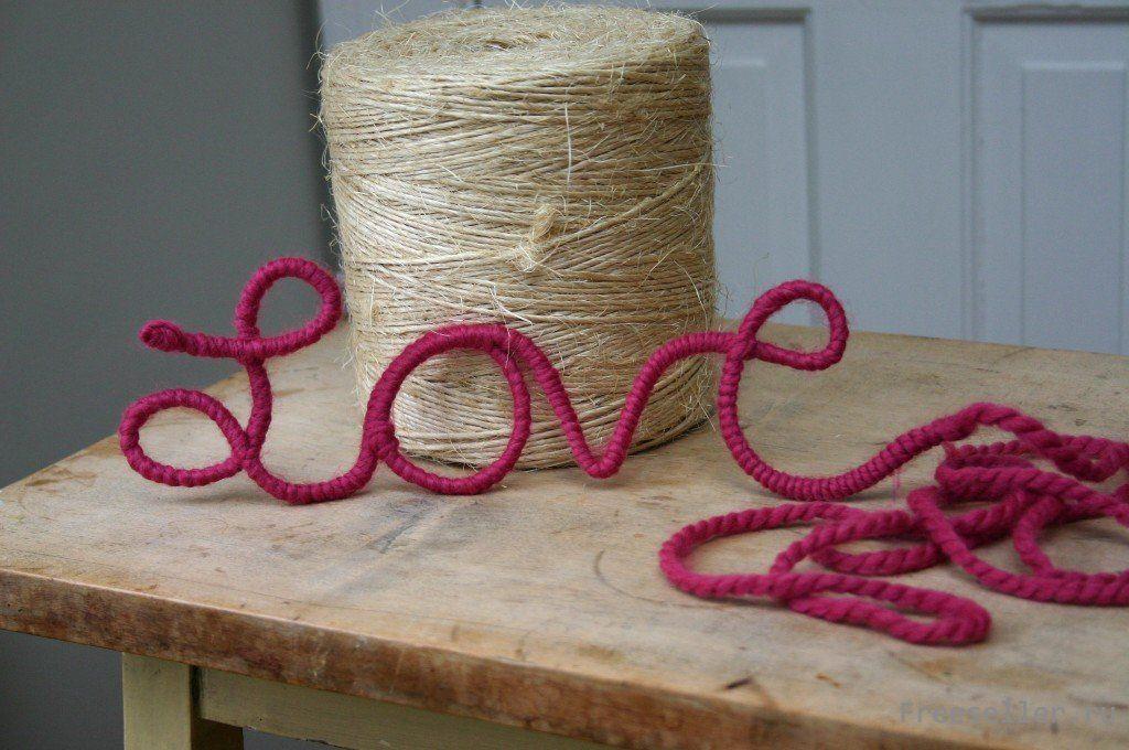 Буквы из ниток на свадьбу своими руками