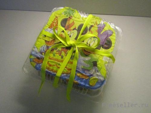 Декупаж упаковки для подарка «Микки и его друзья»