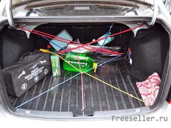 Самодельная сетка для фиксации груза в багажнике из резинок