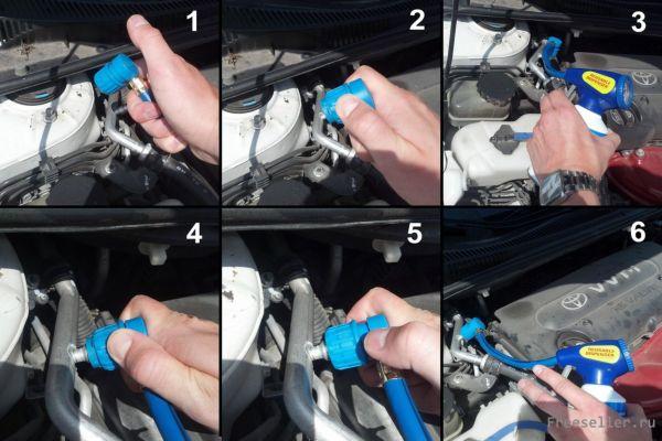 Основные шаги при заправке авто кондицмионера своими руками