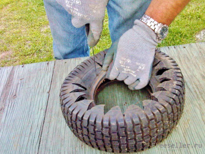 Как сделать горшок из шины