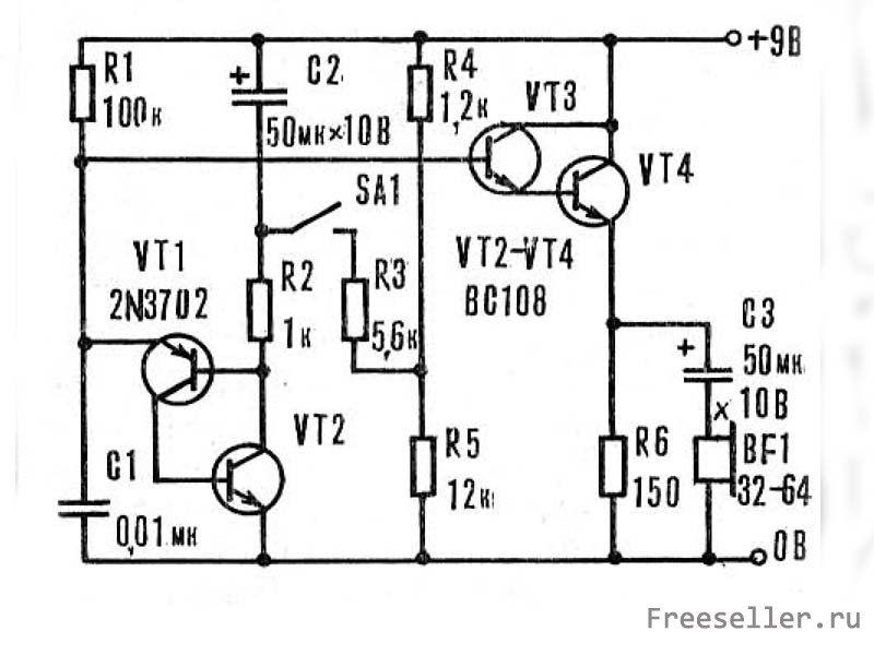 Простая схема сирены, состоящая всего из 4 транзисторов.