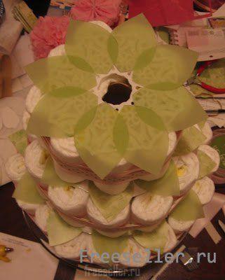 Подарочный торт из подгузников