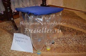 Пуфик для дачи из пластиковых бутылок