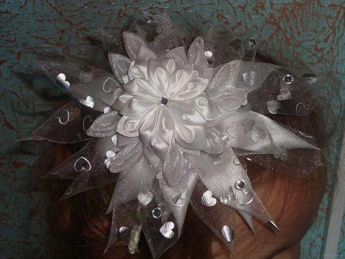 Ободок для волос своими руками из атласных лент мастер класс