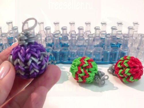 3D елочная игрушка из резиночек Rainbow Loom