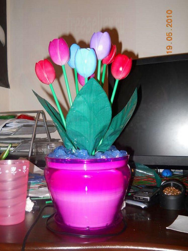 Цветок из ложек пластиковых своими руками