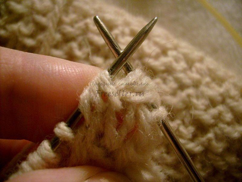 Вязание первой петли для шарфа Вяжем ажурный шарф спицами