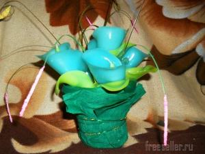 Свечи в виде букетов цветов из парафина
