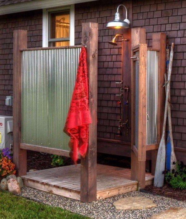 Как оформить душ на даче своими руками 38