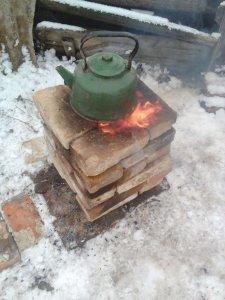 Реактивная печь-ракета из кирпича